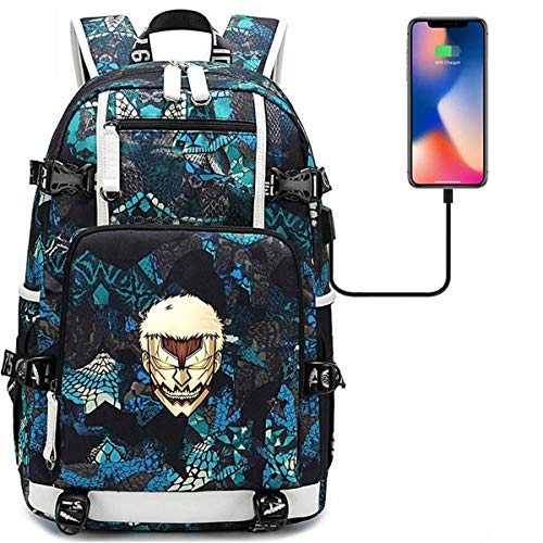 Nanston Attack On Titan Backpack-College Laptop Backpack with USB Charging Port Business Travel Backpack for Teens