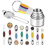 Juego de 14 tazas y cucharas medidoras de acero inoxidable de alta calidad, 5 tazas medidoras, 7 cucharas medidoras magnéticas, 1 nivelador, 1 colador de harina para hornear, cocinar