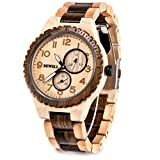 BEWELL Mens Wooden Watch Quartz Date Display Luminous Analog Wood Wristwatch for Men W154A (Maple and Black Sandalwood)
