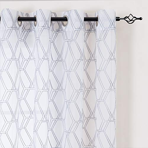 Grey Window Sheer Curtains Panels Drapes Grommet Top Window Curtains for Bedroom Embroidered Geometry Lattice Window Treatment Set for Living Room 84 Inch 2 Panels