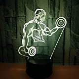 3D Nachtlicht Hot Muscle Men 3D Kleines Nachtlicht Hantel Fitness Sieben Farben Fernbedienung...