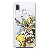 Funda para Samsung Galaxy A40 Oficial de Looney Tunes Personajes Siluetas Transparente para Proteger tu móvil. Carcasa para Samsung de Silicona Flexible con Licencia Oficial de Warner Bros.