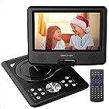 DBPOWER Reproductor de DVD Portátil de 9.5' con Pantalla Giratoria, Compatible con Tarjetas SD y USB, Reproducción Directa en Formatos AVI/RMVB/MP3/JPEG (Negro)