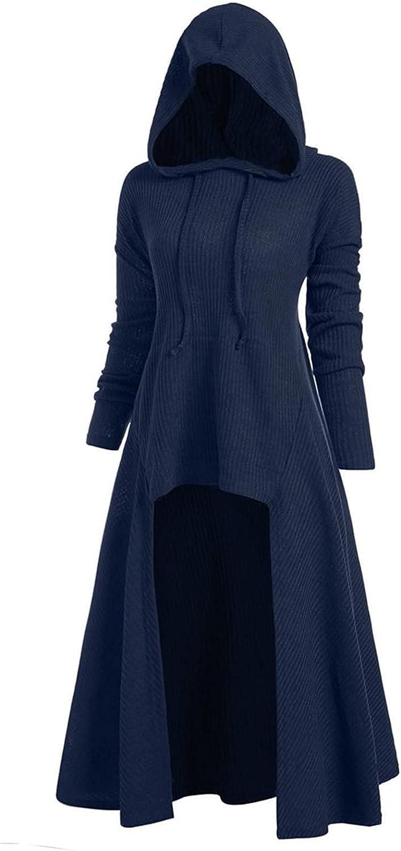 INESVER Womens Solid Casual Hoodies Retro Sweatshirt Plus Size Coat Dress Sweatshirt Elasticity