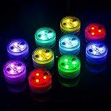 10pcs RGB Unterwasser Licht, Wasserdichte LED-Lichter Tauchbar Teelicht Batteriebetrieben mit...