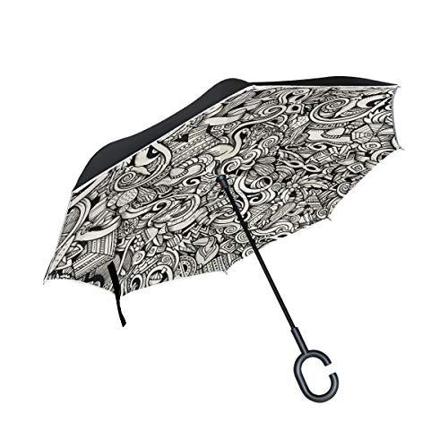 XiangHeFu Dubbele Laag Omgekeerde Omgekeerde Paraplu's Gemakkelijk Kleur Carnaval Patroon Vouwen Winddichte UV Bescherming Grote Recht voor Auto met C-Shaped Handvat