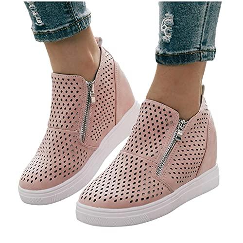 Aunimeifly Women's Platform Low Top Wedge Zipper Sneakers Classic Casual Booties Closed Toe Slip-on Walking Shoes