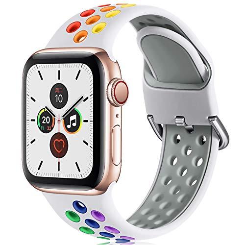 CeMiKa Correa Compatible con Apple Watch Correa 38mm 40mm 42mm 44mm, Suave Silicona Deporte Correa con Compatible con Apple Watch SE/iWatch Series 6 5 4 3 2 1, 38mm/40mm-S/M, Blanco/Colorido