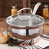 The Pioneer Woman Copper Charm Stainless Steel 4 qt Sauce Pan with Lid and Copper Base