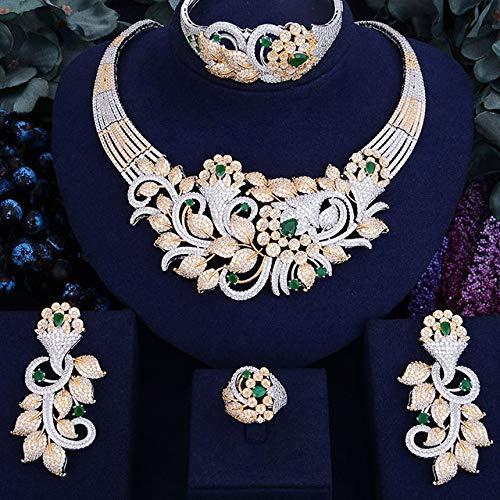 Conjunto de Joyas de Boda para Mujer Esmeralda Brillante Flor Hoja Damas Novia Circón cúbico Collar/Pendientes/Anillo/Pulsera Conjunto de Boda