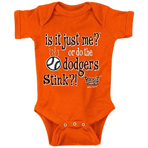 San Francisco Baseball Fans. is It Just Me? Or do The Dodgers Stink?! Orange Onesie (NB-18M) (Onesie, Newborn)