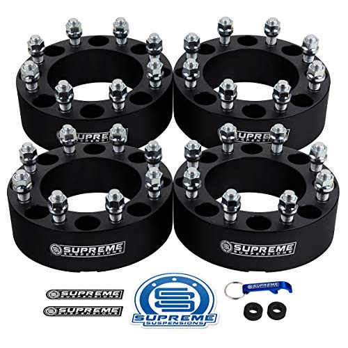 "Supreme Suspensions - 4pc 2"" Wheel Spacers for 2005-2020 Ford F250 Super Duty 2WD 4WD 8x170mm Bolt Pattern / M14x1.5 Studs / 125mm Center Bore [Black]"