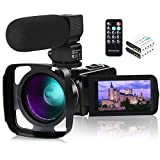 Camcorder Video Camera,1080P 30FPS IR Night Vision YouTube Vlog Camera 16X Digital Zoom Touch Screen Video Recorder with Microphone,Wide Angle Lens,Remote Control,2 Batteries and Lens Hood