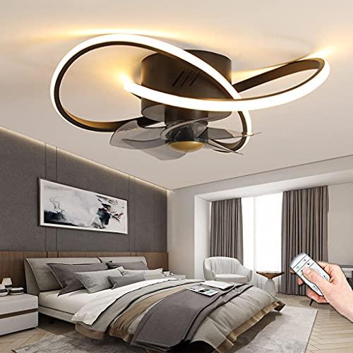 Ventilador De Techo LED Con Iluminación Moderno Luz De Techo Regulable Con Control Remoto Ventilador Lámpara Colgante Para Sala De Estar Dormitorio Sala De Niños Comedor Mesa De Comedor (Black,55CM)