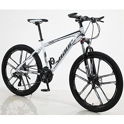 ALUNVA 26inch Mountain Bike,Cross-country Bike,Variable Speed Bicycle,Shock Absorption One Wheel Portable Bicycle,Riding Bicycle-White and black 24 speed