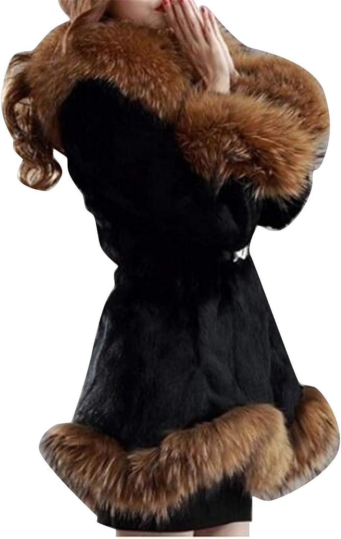 Suncolor8 Women's Fluffy Regular Fit Hoodie Fall Winter Faux Fur Coat Jacket Outerwear