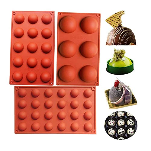 Silicone Mold, Half Sphere Chocolate, Candy And Gummy Mold Teacake Bakeware Set for Chocolate Cookie Rectangular Biscuit Stick Bread Baking DIY (3 Pcs Round Shape)