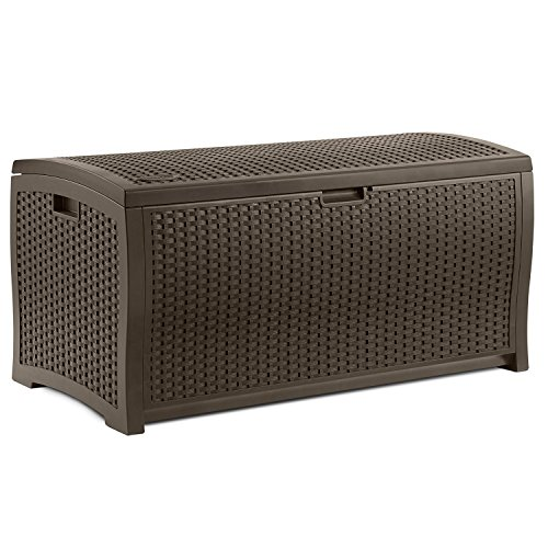 Beautiful Most Popular Top Seller Large Capacity 99Gallon Weather Water Proof Indoor Outdoor Deck Pool Patio Laundry Linen Lightweight Portable Patio Storage Basket Bench Box Container Mocha Brown