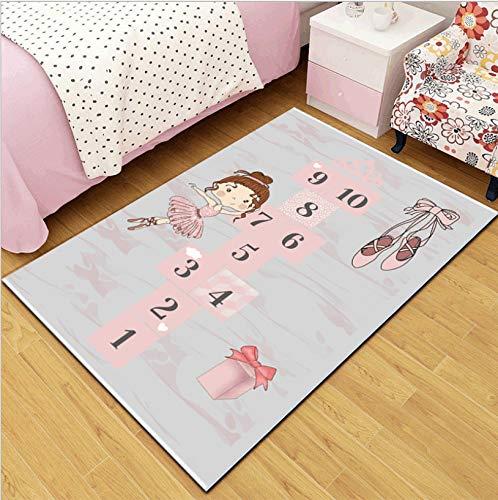 Tapis Pour Enfants, Rose Ballet Fille Chaussures Marelle Tapis En Polyester Doux, Fille Princesse Décoration De La Chambre Tapis De Sol Antisalissure 80Cmx150Cm