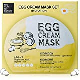 Too Cool for School Egg Cream Mask Set -Hydration- 5 sheets, Instant Boost of Hydration and Radiance