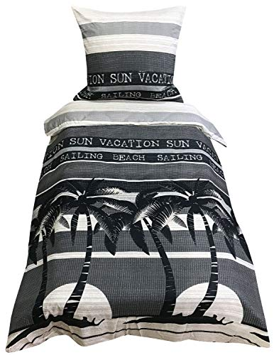 Leonado Vicenti Bettwäsche 155x220 cm grau schwarz Palmen Streifen mit Reißverschluss