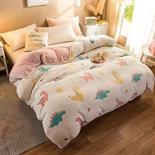 Bayrick Bettwäsche Bettbezug Set,Flanell Bett Set Winter Bettbezug Ultra Soft Bettbezug Sets-220x240_Dinosaurier