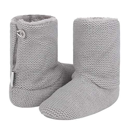 FakeFace - Pantofole da donna antiscivolo con fondo in peluche, da donna, calde pantofole in memory foam, per camera da letto, casa, interni ed esterni, invernali grigio. M