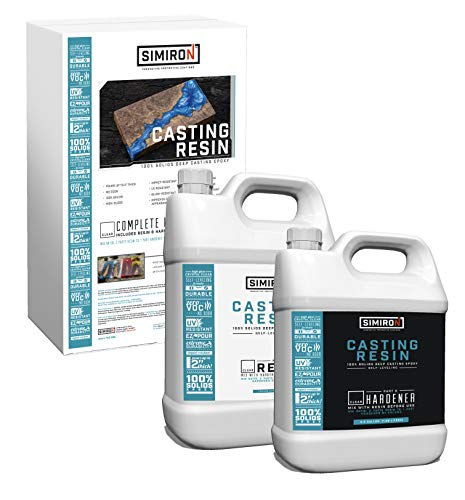 Simiron Casting Resin 1.5 Gal Kit | Professional Grade, Crystal Clear Epoxy Resin Kit with Resin & Hardener - Great for Home Improvement and Art Projects