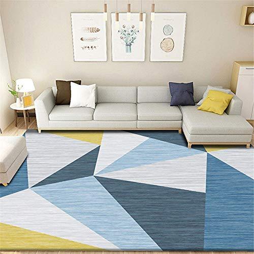 Kunsen Cuadros Blancos alfombras pequeñas Sala de Estar Alfombra geométrica Azul decoración de Dormitorio Moderno alfombras recibidor 80X120CM 2ft 7.5' X3ft 11.2'