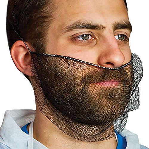 100 Pack of Disposable Soft Nylon Beard Covers 18'. Black Beard Covers. Honeycomb Beard Nets. Facial Hair Covering for Industrial Use. Breathable & Lightweight. Wholesale.