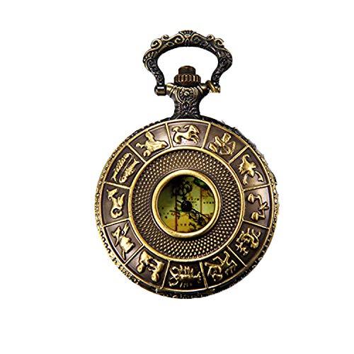 JewelryWe Retro Taschenuhr 12 Sternzeichen Tierkreis Weltkarte Herren Unisex Kettenuhr Analog Quarz Uhr mit Halskette Kette Pocket Watch Geschenk Bronze Vatertagsgeschenk