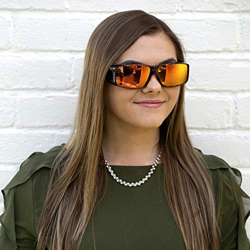 Reflective Over Glasses Sunglasses with Mirrored Lenses, Box and Cloth - Polarized Protection - Style 1