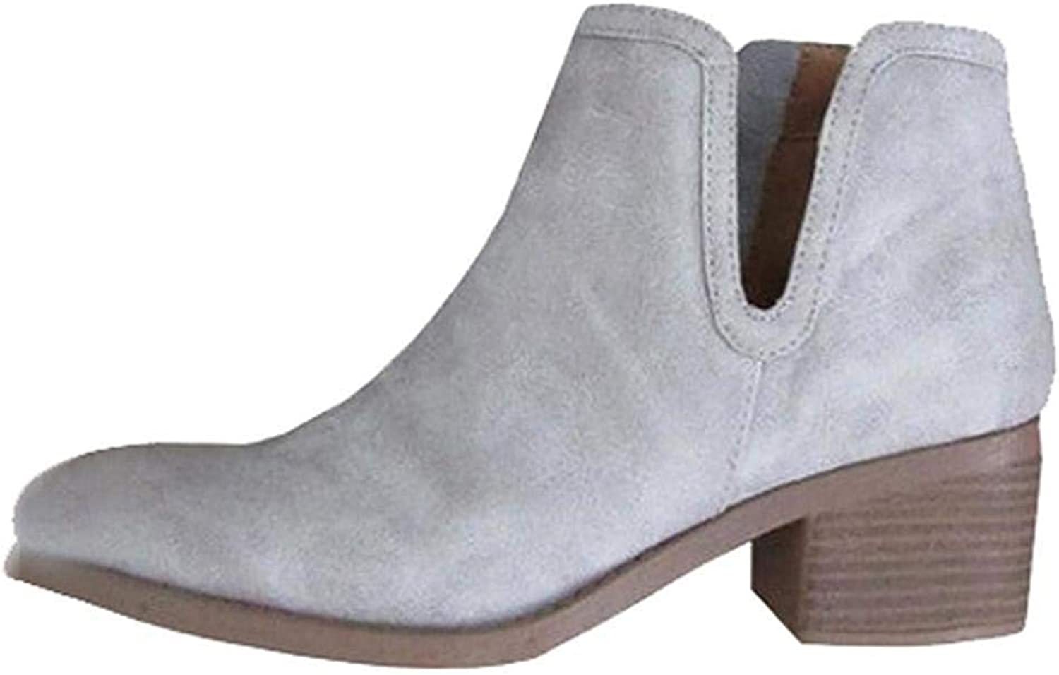 A-LING Women Boot,Low Heel Thick Heel Boot Leather Zipper Boot Snow Boot
