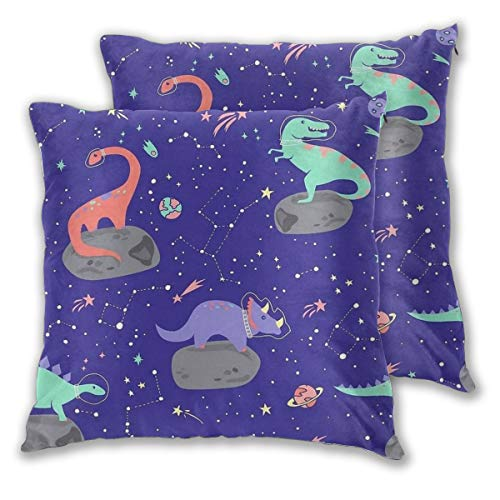 Throw Pillow Covers Dinosaur Space Meteorite Constellation Cushion Covers Soft Polyester Square Decorative Throw Pillow Case For Living Room Sofa Couch Bed Pillowcases 2pc Variety Of Sizes