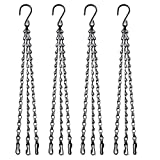 HHTHH Set of 4 Black 16 inch Decorative Hanging Chains 3 Point Hanging Basket Chains Replacement Hanging Chain for Plants Flower Pot, Lanterns, Bird Feeders, Planters and Other Ornaments