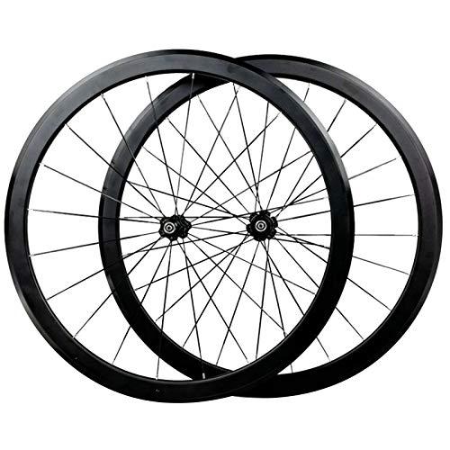 ZCXBHD Bicicleta de Carretera Ruedas 700C,Llanta de Aleación Aluminio Doble Capa Primeros Dos Últimos 4 Rodamientos Barra Plana 40mm Rueda de Bicicleta 11 Velocidades C/V Freno
