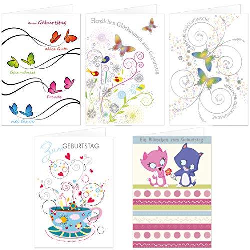 paperSky Verjaardagskaarten set 5 x 10 motieven, 50 exclusieve vouwkaarten met envelop