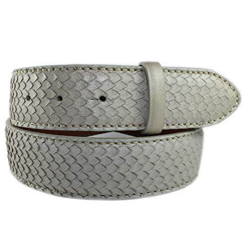 REPTILES HOUSE Gürtelband Leder, Schlangenprägung Beige, Breite: 4 cm, 85 cm