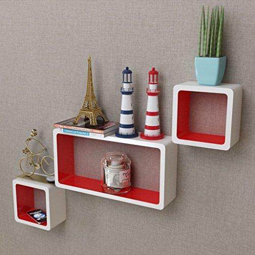 Zora Walter - Juego de 3 estantes de Pared con Forma de Cubo (Tablero DM), Color Blanco y Rojo