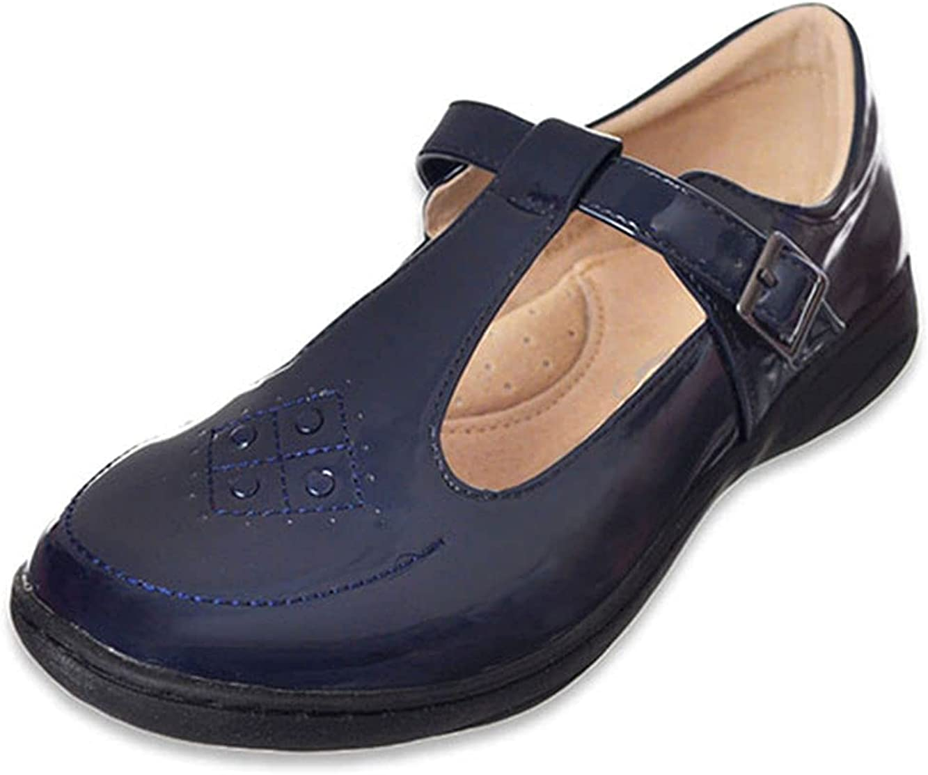 Easy Strider Little Girls Circle Grid Mary Janes - Navy, 5