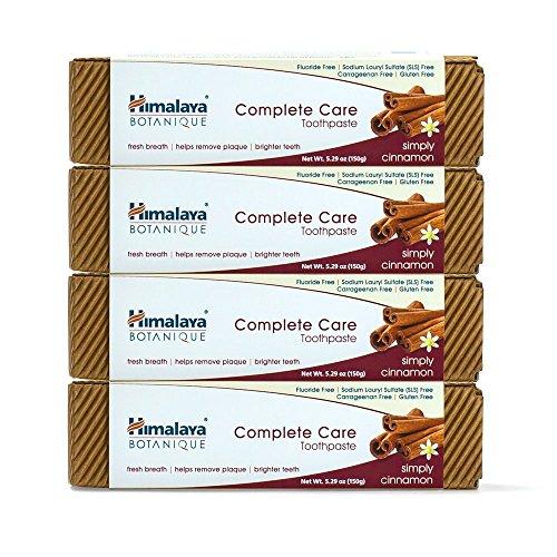 Himalaya Botanique Toothpaste - Simply Cinnamon 150g - Natürliche Zahnpasta ohne Fluorid, SLS, Gluten und Carrageen, Geeignet für VEGETARIER (4 PACK)
