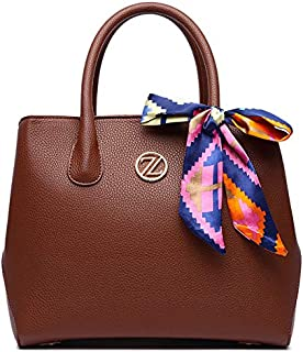 Zeneve London Eva Satchel Bag for Women - Brown