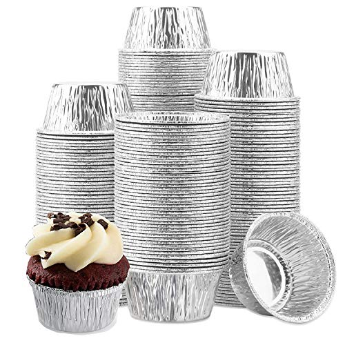 Ramekins Muffin Cups,Durable Quality Disposable Aluminum Foil Ramekins 150 Pack - 4 oz, Aluminum Foil Baking Cups Perfect For Making Cupcakes, Appetizer, Freezing, Broiling & Preservation