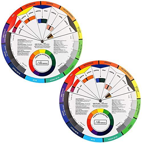 Namvo Rueda de Color 2 Piezas, guía de Aprendizaje de Mezcla de Pintura Herramienta de enseñanza de Clase de Arte para Tabla de Mezcla de Maquillaje Tabla de Color Guía Mixta 9.8 Pulgadas / 25 cm