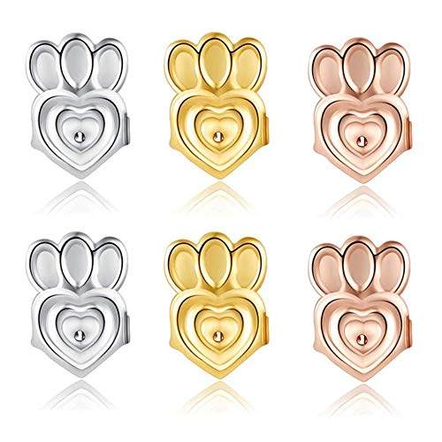 Earring Backs Earring Lifters - 3 Pairs of Adjustable Hypoallergenic Earring Lifts for Women Ear Lobe Support Patches(18k Gold Plated, Silver Plated, Rose Gold Plated-Crown Style)