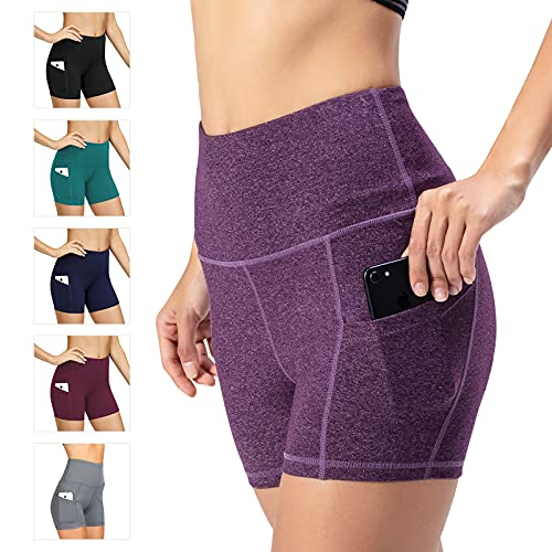 Damen Leggings Yogahosen Sporthose Tights Laufhose High Waist mit Taschen Dehnbar Jogginghose Yoga Sport Fitness Laufen(Lila,XS