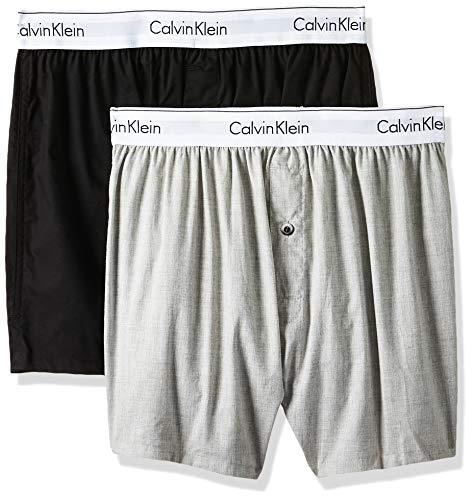 Calvin Klein Herren 2p Slim Fit Boxer Hüft-Shorts, Mehrfarbig (Black/Grey Heather Bhy), XL