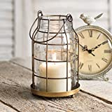 Attractive and Graceful Quart Mason Jar Candle Cage -Antique Brass Metal Lantern Candle Holder with Clear Glass, Rustic Indoor / Outdoor Light for Your Home Decor - Modern Rustic Vintage Farmhouse