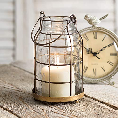 Attractive and Graceful Quart Mason Jar Candle Cage -Antique Brass Metal Lantern Candle Holder with Clear Glass, Rustic Indoor/Outdoor Light for Your Home Decor - Modern Rustic Vintage Farmhouse