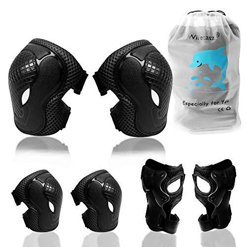 Wiletasz Knieschoner Ellenbogenschoner & Armschoner für Kinder, Kinder Schonersets Verstellbarer Gurt für 3-9 Jahre Radfahren Inline-Skates Rollschuhe Skateboarding & Scooter BMX Bike Sports(Schwarz)